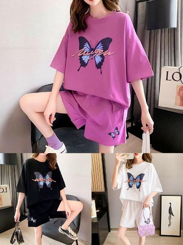 韓版蝴蝶直貢呢套裝