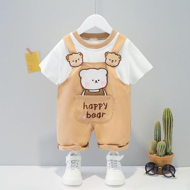 逗逗兒童韓版夏季套裝男小童卡通短袖套裝女童寶寶背帶褲套裝代發