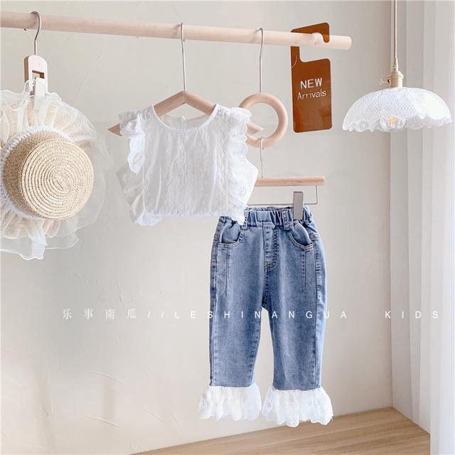 韓版無袖上衣+牛仔褲套裝