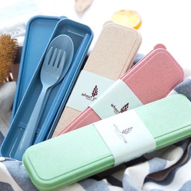 筷勺叉三件套 小麥秸稈餐具套裝 環保無毒  便攜餐具 旅行套裝