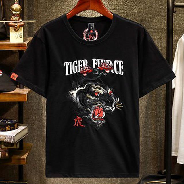 06 M-4XL 潮牌重工刺繡老虎短袖T恤(2色)