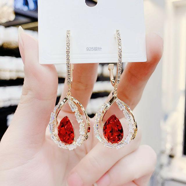 幾何水晶耳環2020年新款潮韓國氣質網紅水滴耳墜銀針耳釘女