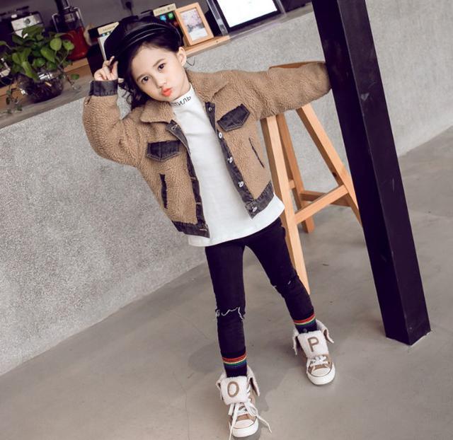 11 110-160 韓國童裝 撞色拼接泰迪絨牛仔外套(2色)66291