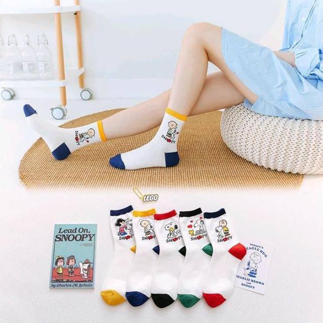 出口日本史努比透氣吸汗中筒襪(一組5雙)