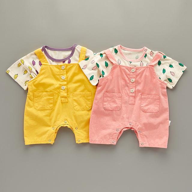 夏装套装女寶寶背带裤兩件套(q)