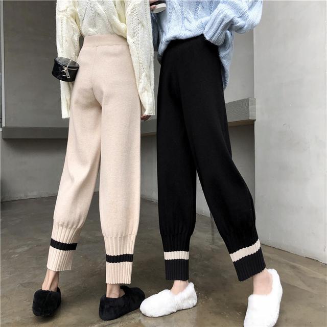 B 12/11 寬鬆休閒高腰直筒針織哈倫褲(2色)