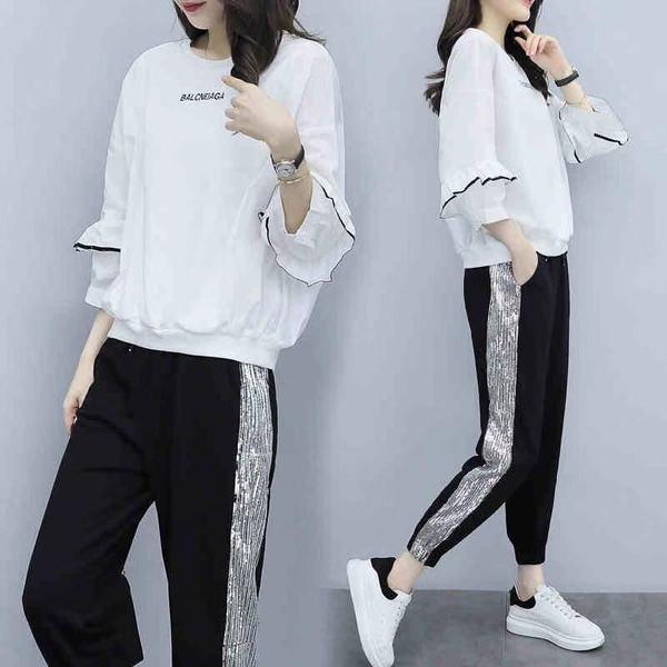 11 流行款 S-2XL 韓版 減齡上衣+長褲運動套裝