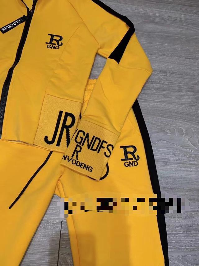 实拍R字母拉链外套+松紧腰长裤休闲运动套装两件套