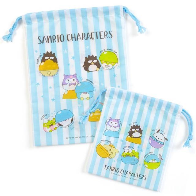 現貨 日本製 酷企鵝 布丁狗 大眼蛙 縮口袋 束口袋  二入組