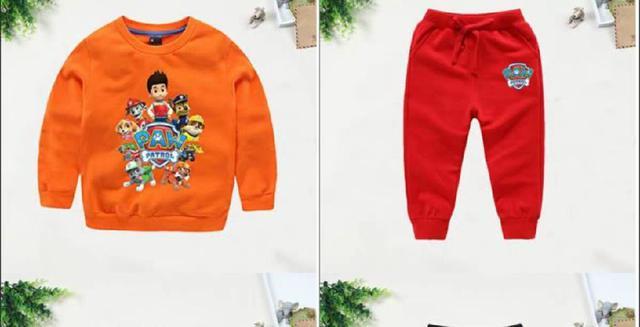 秋裝男女童純棉T恤和長褲兩件套(旺旺隊)