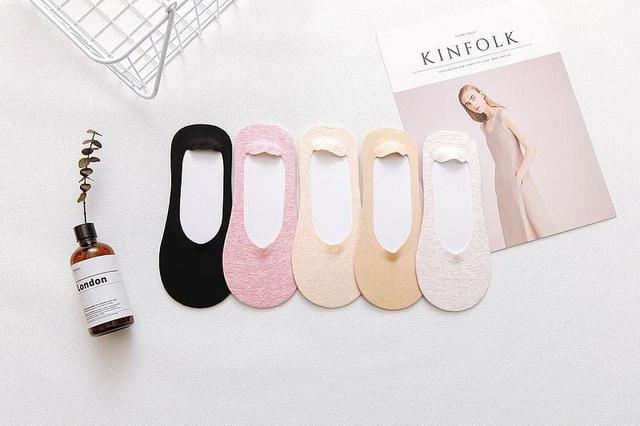 日系純色深口隱形防滑女士船襪(6雙)