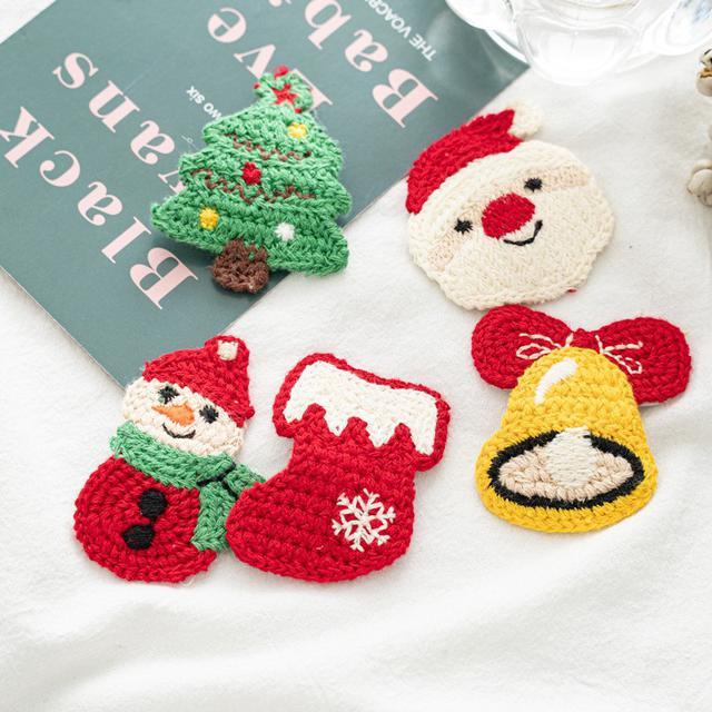 手工編織聖誕毛線髮夾5入