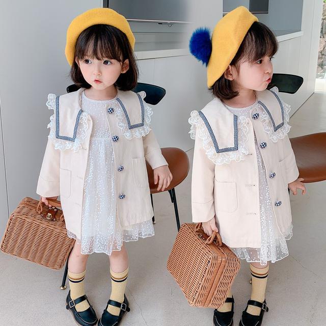 女寶寶韓版洋氣中長款單排扣兒童風衣(貝)