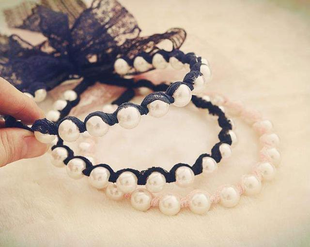 (預購S) 韓國珍珠纏繞蕾絲飄逸髮帶髮箍(一組3個)
