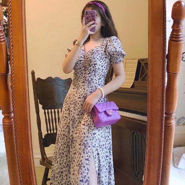 泡泡袖 開叉長裙 洋裝 連衣裙 連身裙