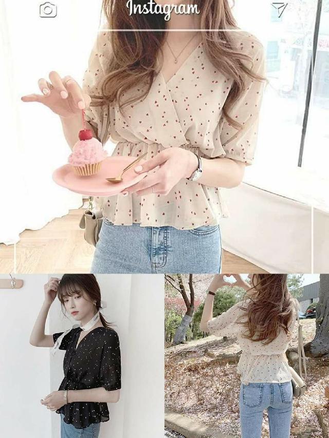 韓版蕾絲蝙蝠袖彈性縮腰愛心雪紡衫
