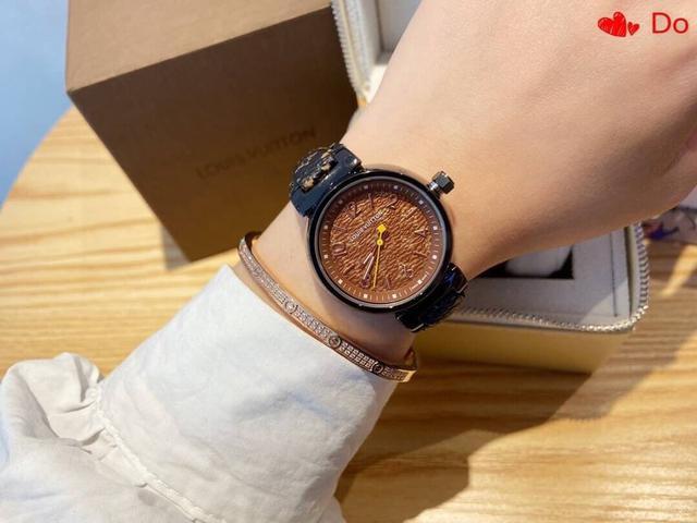 新款💌路易威登LV手錶精美女士腕表震撼上市🆕精緻的數字條釘字面設計