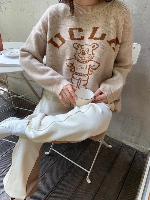 重磅UCLA刺繡熊毛衣