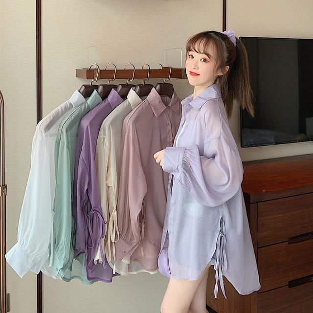 40197  糖果色寬鬆開叉繫帶長袖防曬襯衫