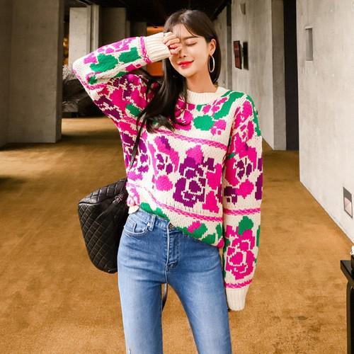 11 學院風寬鬆提花針織衫
