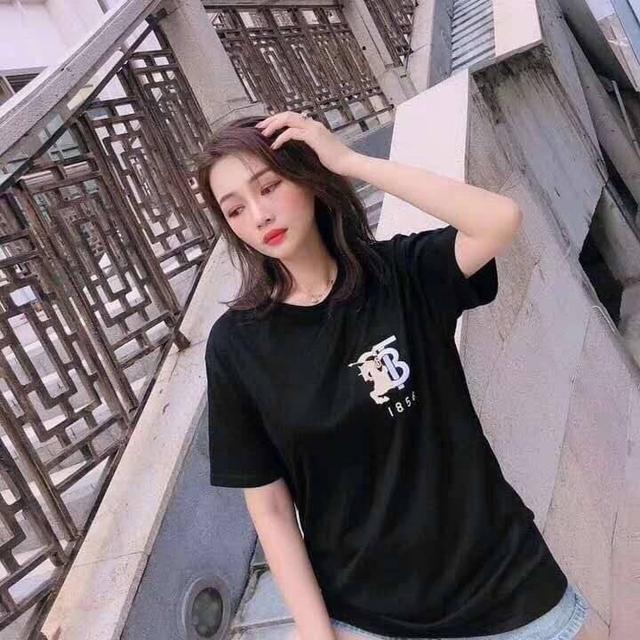 2020夏季新款bbr胸前戰馬tb字母復古刺繡圓領純棉短袖T恤 男女同款棉 刺繡款