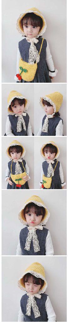 [雜貨店](2入)女童毛線帽蕾絲帶繫帶帽