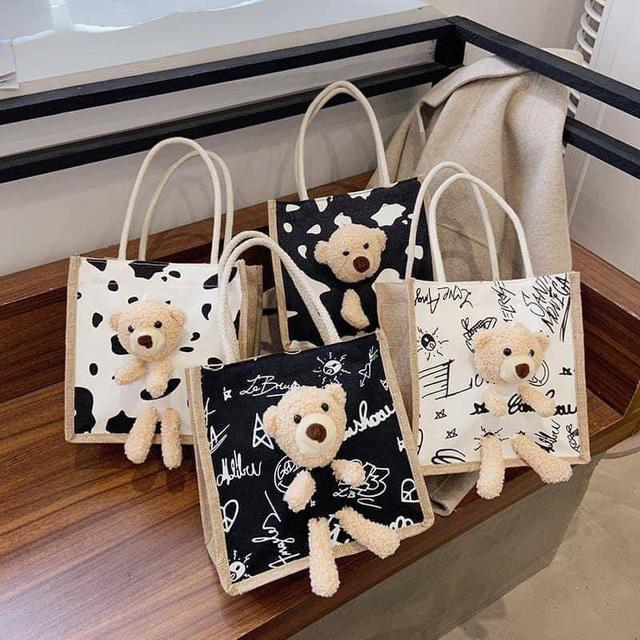 韓版塗鴉可愛小熊手提包