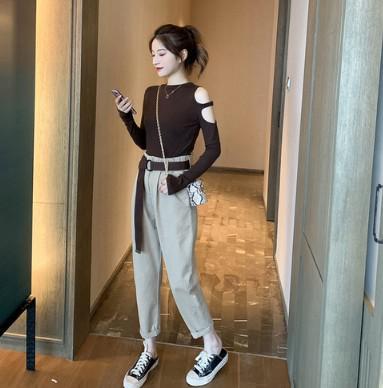11 流行款 S-XL 韓版 露肩上衣+系帶工裝褲 套裝(2色)