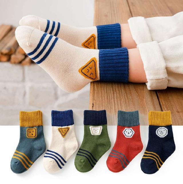 (預購s+) 秋冬兒童中筒保暖襪(一組5雙)