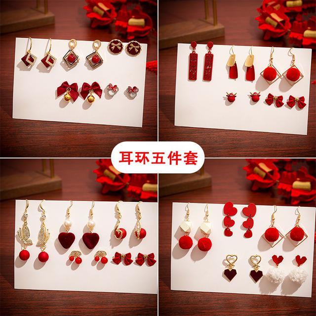 冬季毛绒红色耳釘耳環(平)