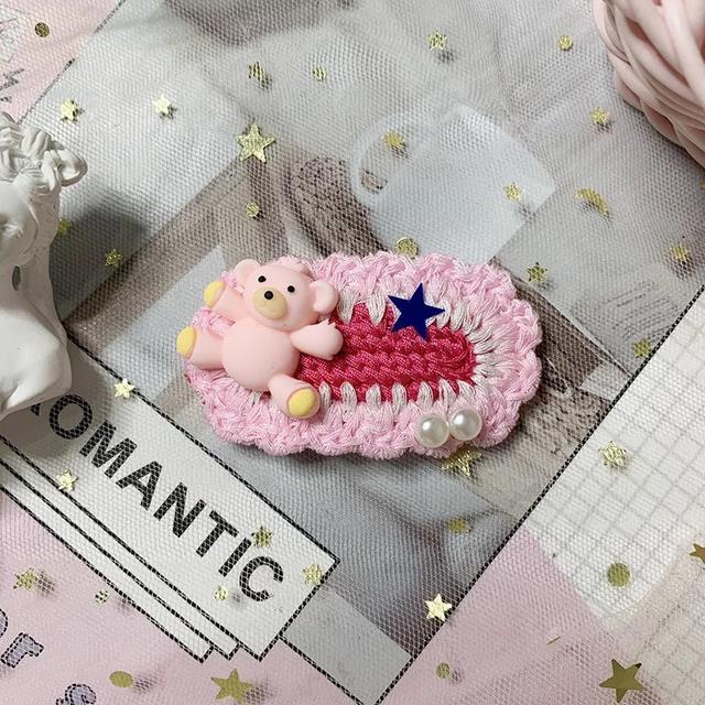 (1196系列)ins網紅小熊針織發夾邊夾少女簡約手工編織發卡韓版可愛森系發飾