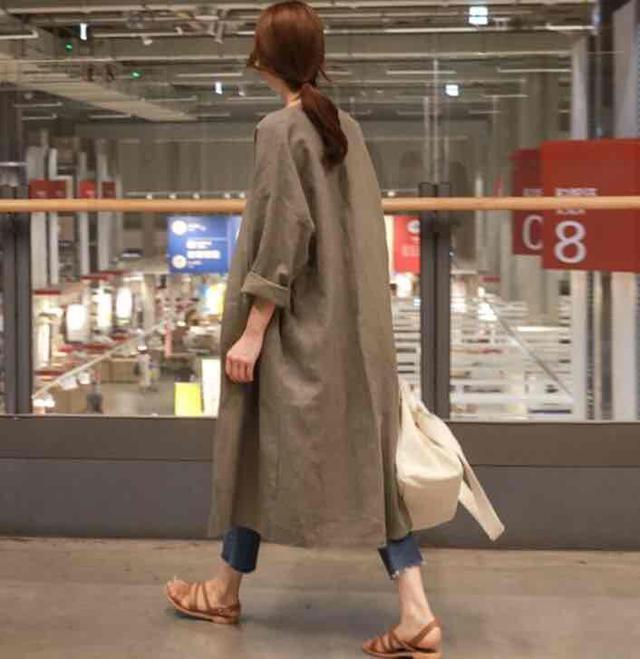 韓版❤️秋季棉麻長款棉麻薄款外套--卡其色