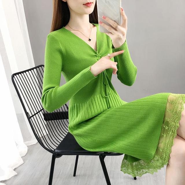 長袖拼接蕾絲大碼打底針織毛衣連衣裙過膝秋冬內搭外穿V領連衣裙