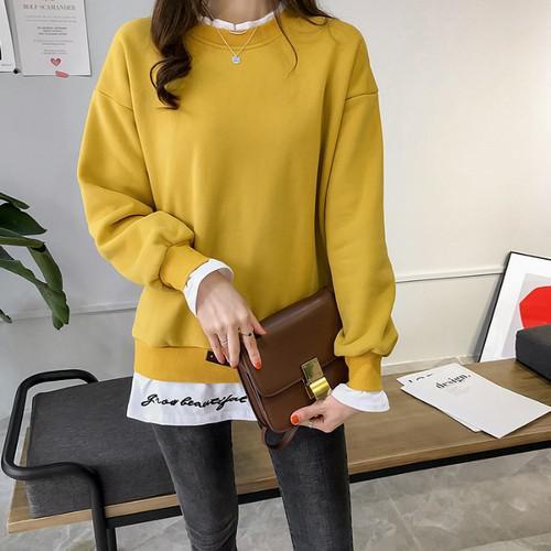 11 流行款 M-2XL 韓版 加絨假兩件拼接衛衣(4色)