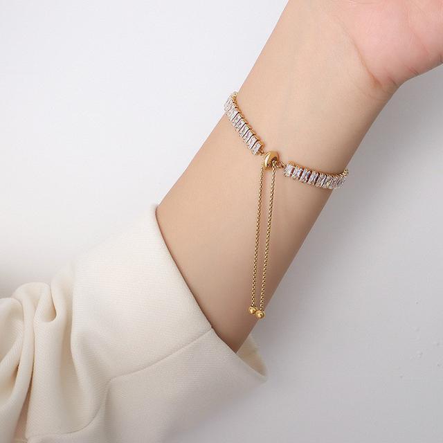 法式滿天星滿鑽鋯石設計鈦鋼18k真金項鏈抽拉扣手鏈飾品套裝