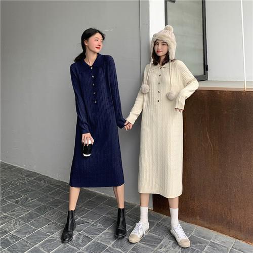 B 12/11 加厚減齡POLO領麻花針織中長款連衣裙 (2色)