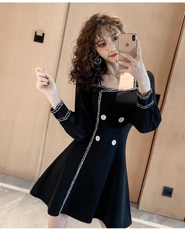 11 S-2XL 韓版 花邊燈籠袖收腰連衣裙