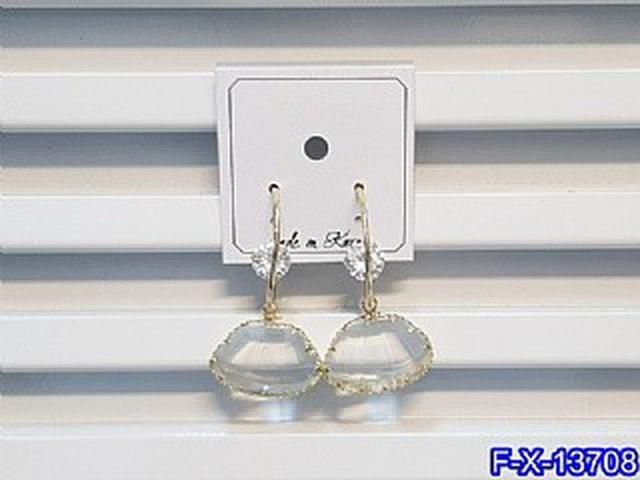 透明扇形壓克力鋯石耳圈耳環   耳針 韓式