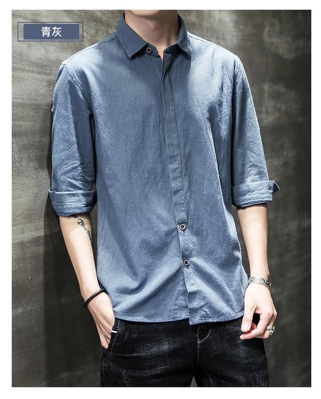 06 M-4XL 優質單品休閒純棉中袖襯衫(7色)
