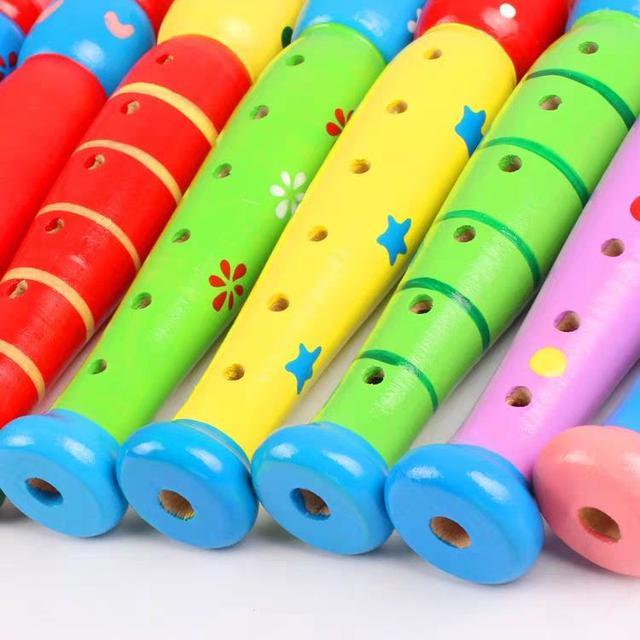 木製兒童音樂啟蒙玩具 彩色卡通六孔豎笛子 LSJ19072501