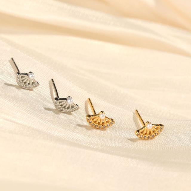 S925純銀可愛小扇子珍珠耳環宮廷風國潮氣質復古迷你耳環網紅