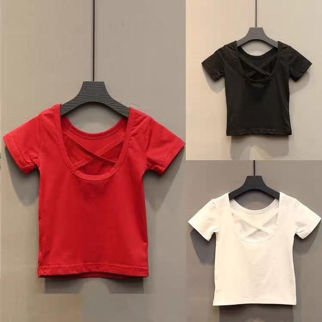 (預購)童装2019夏装新款女童後背交叉性感露背短袖T恤寶寶上衣女中大童3