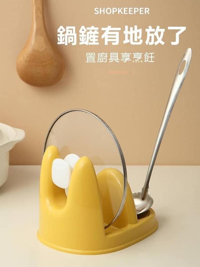 免鑽孔二合一鍋蓋湯勺架(1組2個)