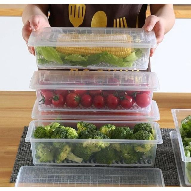 #預購G1023 - 冰箱解凍瀝水長型保鮮盒