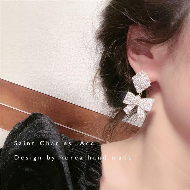 🇰🇷 重工華麗鋯石蝴蝶結耳環