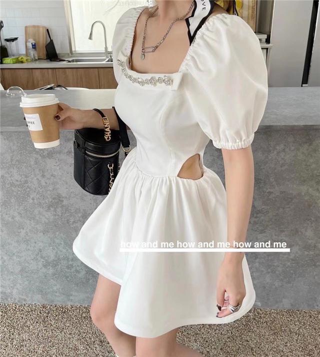 夏季新款泡泡袖连衣裙