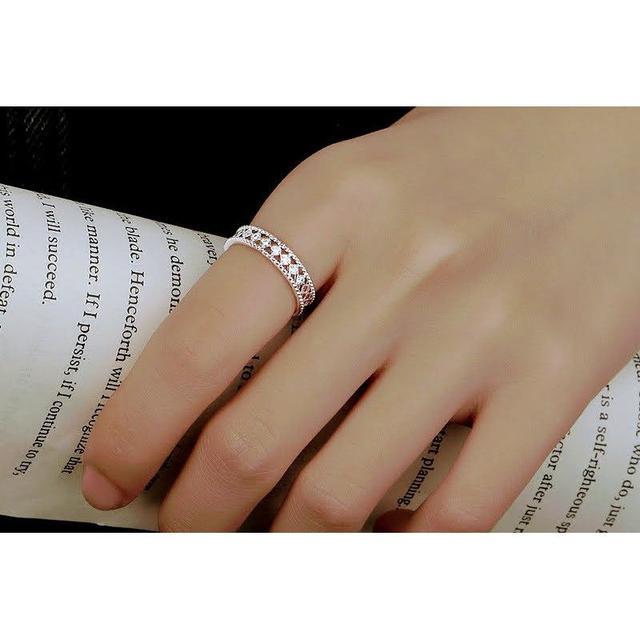 🌟現貨🌟韓式鏤空設計微鑲戒指