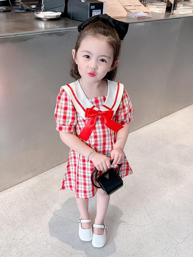 兒童洋氣小童夏季新款红學院風裙(貝)