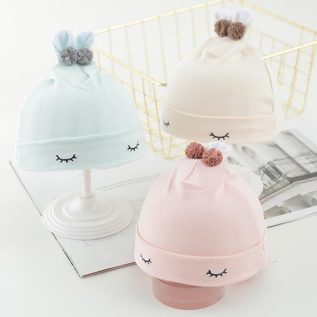 (預購)嬰兒帽子新生兒薄款纯棉初生胎帽夏季女寶寶透氣款