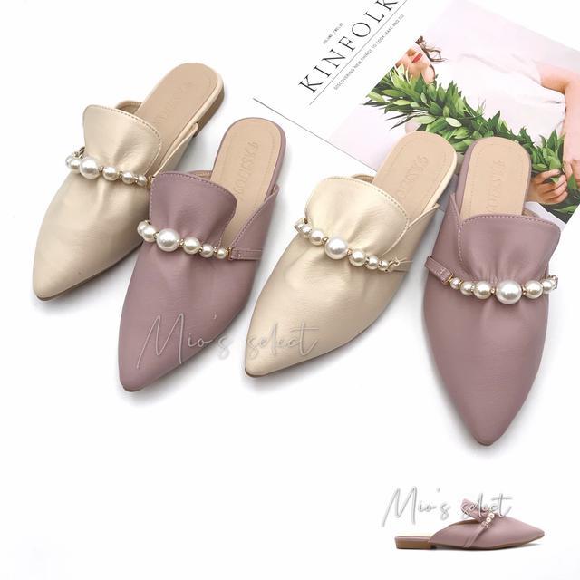 💋Mio's 法式甜心➰法式呢喃時尚花苞抓皺設計珍珠水鑽平底防滑穆勒鞋懶人鞋珍珠拖鞋尖頭平底鞋
